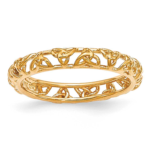 Sterling Silver Stackable Expressions Yellow-plated Celtic Knot Ring
