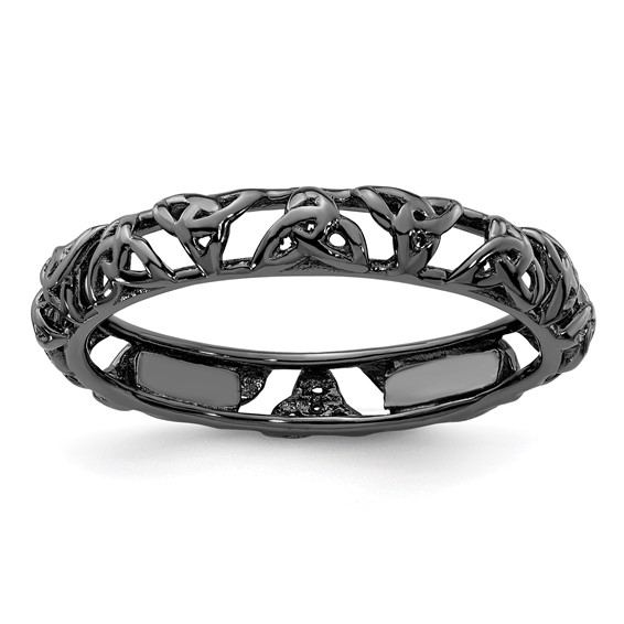 Sterling Silver Stackable Expressions Black-plated Celtic Knot Ring