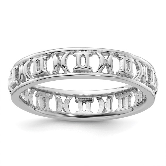 Sterling Silver Stackable Expressions Gemini Zodiac Ring