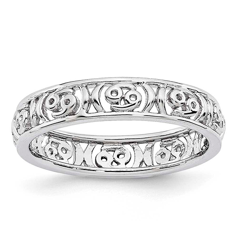 Sterling Silver Stackable Expressions Cancer Zodiac Ring