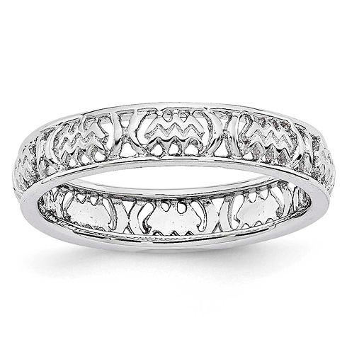 Sterling Silver Stackable Expressions Aquarius Zodiac Ring