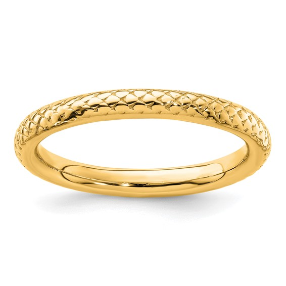 Sterling Silver Stackable 2.25mm Gold-plated Cable Ring