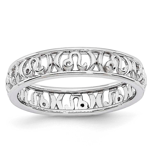 Sterling Silver Stackable Expressions Leo Zodiac Ring