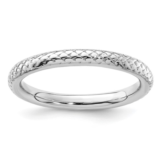 Sterling Silver Stackable Expressions 2.25mm Rhodium Cable Ring