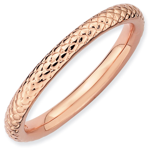 Sterling Silver Stackable 2.25mm Pink-plated Cable Ring