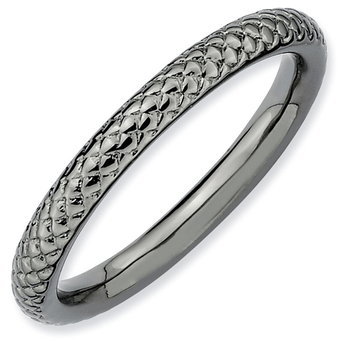 Sterling Silver Stackable Expressions 2.25mm Black-plated Cable Ring
