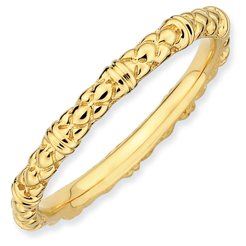18kt Gold-plated Sterling Silver Stackable 2.25mm Fancy Cable Ring