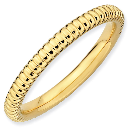 Sterling Silver Stackable Expressions 2.25mm 18kt Gold-plated Rice Ring
