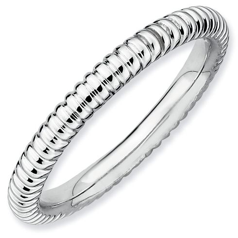 Sterling Silver Stackable Expressions 2.25mm Rhodium Rice Ring