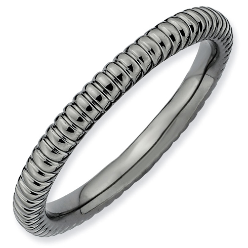 Sterling Silver Stackable 2.25mm Black-plated Rice Texture Ring