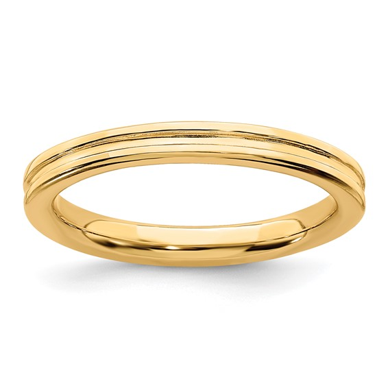 Gold-plated Sterling Silver Stackable 2.25mm Grooved Ring