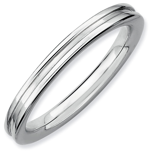 Sterling Silver Stackable Expressions 2.25mm Grooved Ring