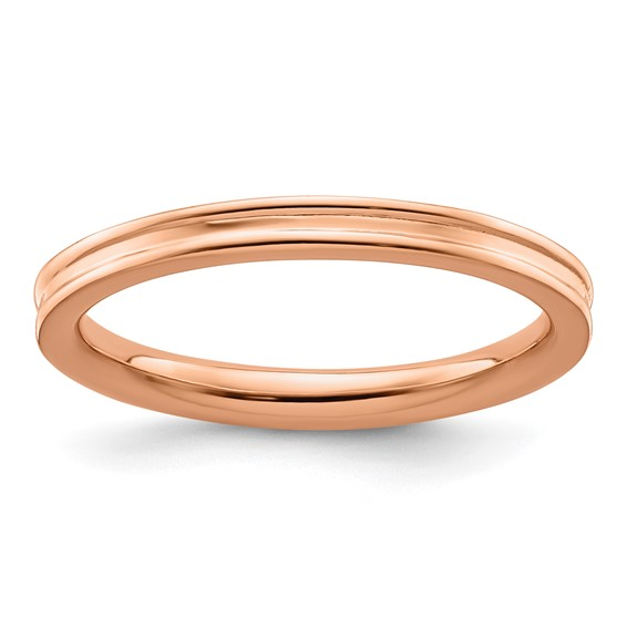 18kt Rose Gold-plated Sterling Silver Stackable 2.25mm Grooved Ring