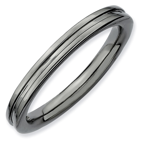 Sterling Silver Stackable Expressions 2.25mm Black-plated Grooved Ring