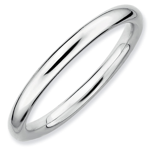 Sterling Silver Stackable 2.25mm Rhodium Polished Ring