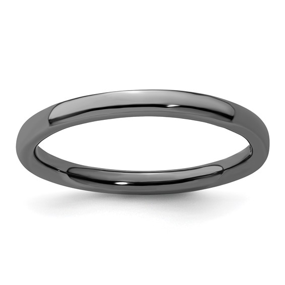 Black-plated Sterling Silver Stackable 2.25mm Domed Ring