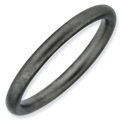 Black-plated Sterling Silver Stackable 2.25mm Satin Ring