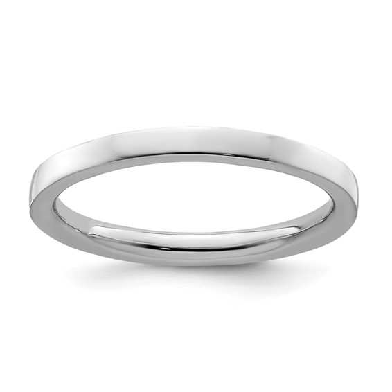 Sterling Silver Stackable Expressions 2.25mm Rhodium Polished Ring