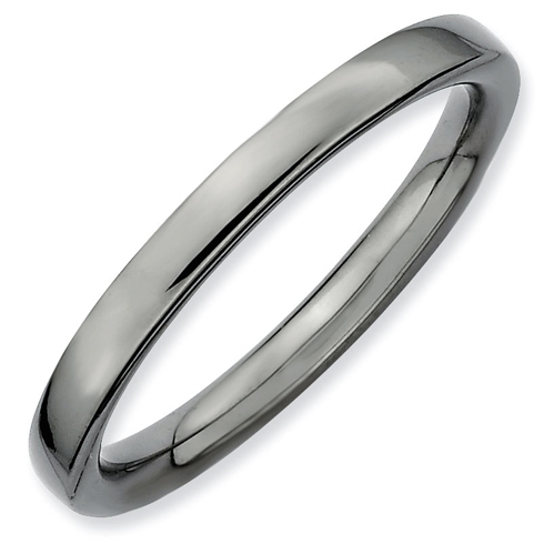 Sterling Silver Stackable Expressions 2.25mm Black-plated Polished Ring