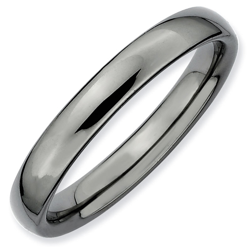 Black-plated Sterling Silver Stackable 3.25mm Domed Ring
