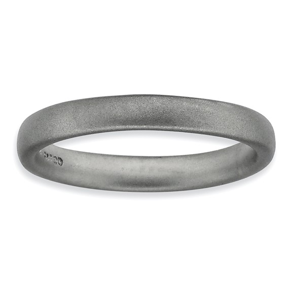 Sterling Silver Stackable 3.25mm Rhodium Satin Ring
