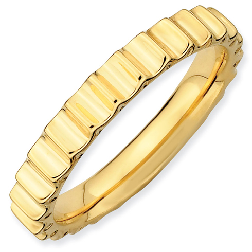 18kt Gold-plated Sterling Silver Stackable Spur Gear Ring