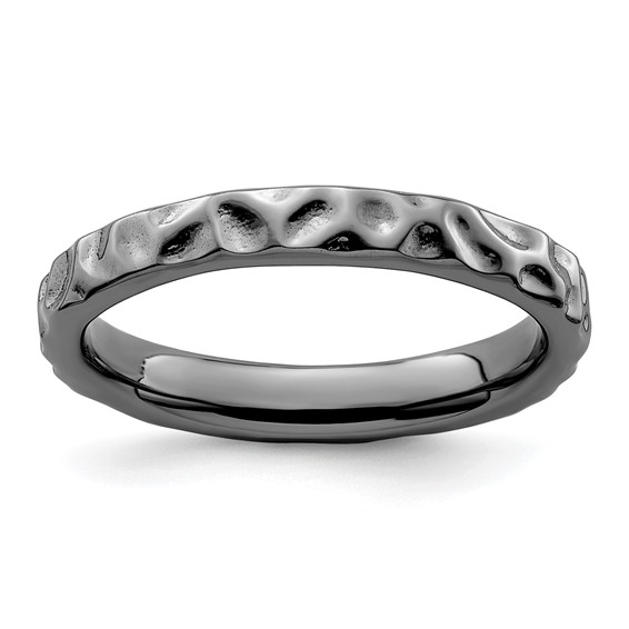 Sterling Silver Stackable Expressions Black-plated 3.25mm Ring