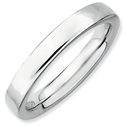 Sterling Silver 3.5mm Stackable Expressions Rhodium Ring
