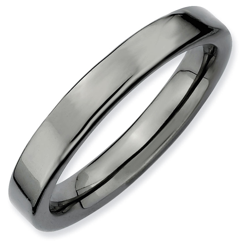 Sterling Silver Stackable Expressions 3.5mm Black-plated Ring