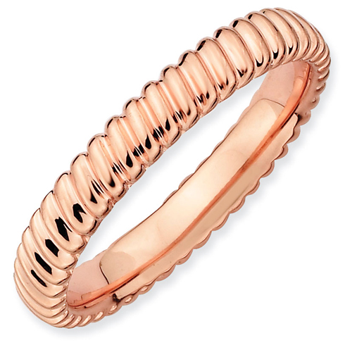 18kt Pink Gold-plated Sterling Silver 3.25mm Stackable Ring with Rope Texture