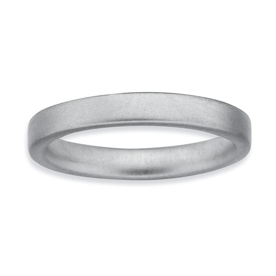 Sterling Silver Stackable Expressions Rhodium Satin Ring