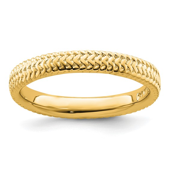Sterling Silver Stackable Expressions Gold-plated Ring