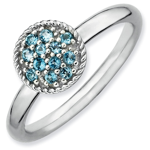 Sterling Silver Stackable Expressions 1/5 ct Blue Topaz Ring
