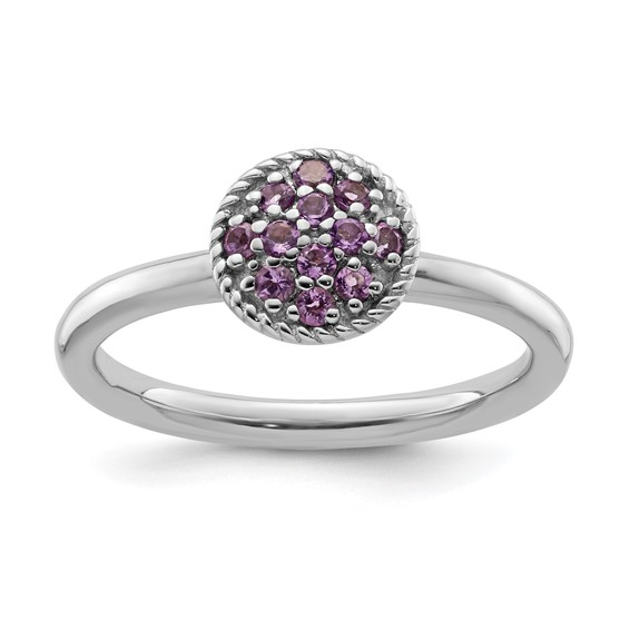Sterling Silver Stackable Expressions Amethyst Cluster Ring