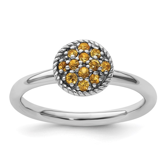 Sterling Silver Stackable 1/5 ct Citrine Cluster Ring