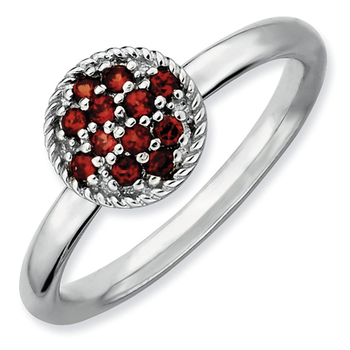 Sterling Silver Stackable Expressions 1/4 ct Garnet Cluster Ring