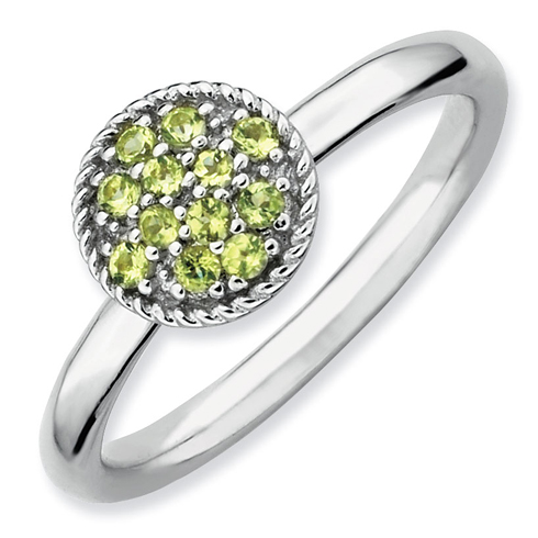 Sterling Silver Stackable Expressions Peridot Cluster Ring