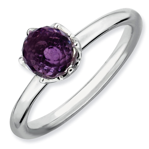 Sterling Silver Stackable Expressions Amethyst Briolette Ring