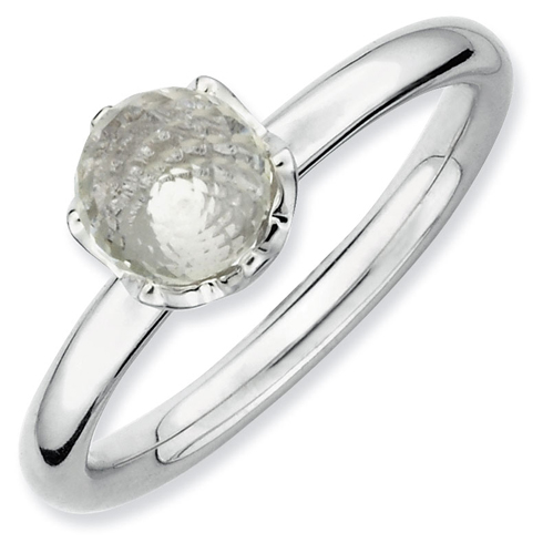 Sterling Silver Stackable Expressions White Topaz Briolette Ring