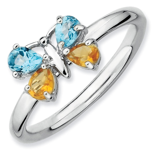 Sterling Silver Stackable Blue Topaz Citrine Butterfly Ring