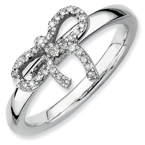 Sterling Silver Stackable Expressions Diamond Bow Ring