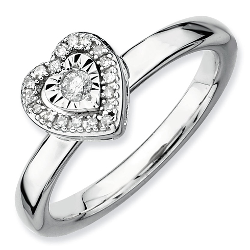 Sterling Silver Stackable Expressions 1/8 ct Diamond Heart Ring