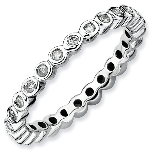 Sterling Silver Stackable 1/3 ct Diamond Bezel Eternity Ring