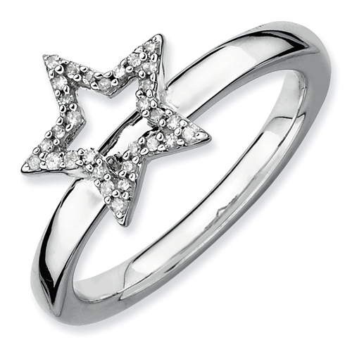 Sterling Silver Stackable Expressions Star Diamond Ring