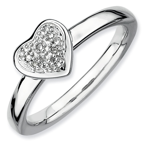 Sterling Silver Stackable Expressions Heart Ring with Diamonds