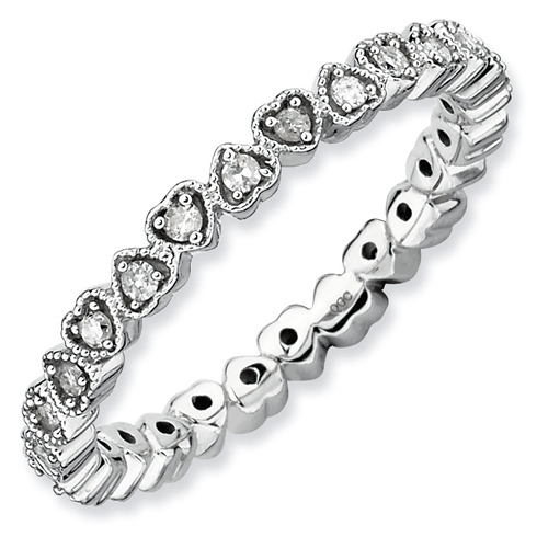 Sterling Silver 1/4 ct Eternity Hearts Diamond Ring