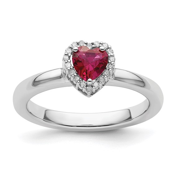 Sterling Silver Stackable 1/2 ct Created Ruby Heart Diamond Ring