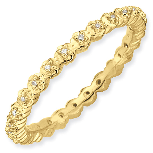 Gold-plated Sterling Silver Stackable Expressions Diamond Ring