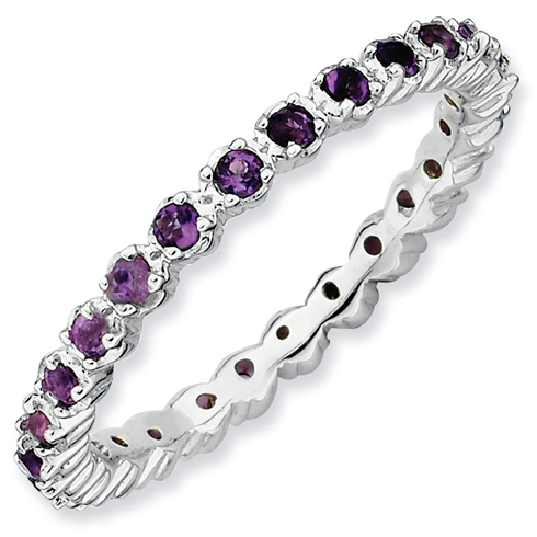 Sterling Silver Stackable 2/5 ct Amethyst Eternity Ring