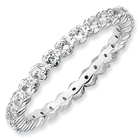 Sterling Silver Stackable 1/2 ct White Topaz Eternity Ring